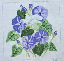 "handpainted needlepoint canvas 10ct morning glories 15x15"""