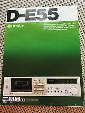 Vtg Hitachi Brochure ~ D-E55 Cassette Tape Deck