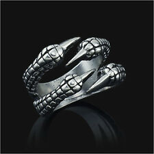 Stainless Steel Gothic Jewelry Dragon 4 Claw Ring punk goth eagle demon metal ss