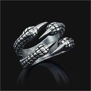 Gothic Jewelry Dragon 4 Claw Ring punk goth eagle demon - High Quality Metal