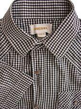 DIESEL Shirt Mens 14 XS Black & White Check POPPERS SHORT SLEEVE