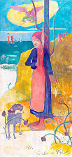Breton Girl Spinning by Paul Gauguin 75cm x 34.3cm High Quality Art Print