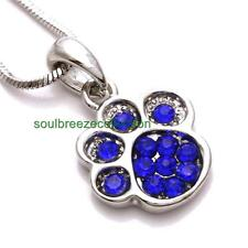 Blue Doggy Dog Puppy Paw Pendant Necklace Charm Jewelry Gift Girl Women Mom Wife