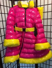 Shiny Pink & Yellow Nylon Puffer Coat Peplum Dress Lolita XL wet gummy Cosplay