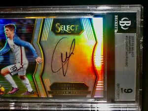 BGS 9 Mint 2017 Panini Select CHRISTIAN PULISIC ROOKIE PRIZM AUTO Soccer Card RC