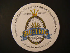 Beer COASTER ~ BLUE FROG Grog & Grill; Fairfield, CALIFORNIA * 1999-2013? CLOSED