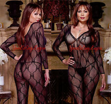 Plus Size LONG SLEEVE LACE Bodystocking Black STRETCH LACE fits to 275 lbs QUEEN