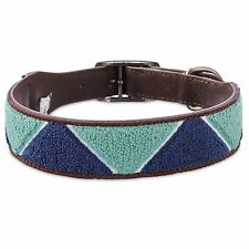 Bond & Co. Geometric Triangle Blue Dog Collar, For Neck Sizes 12-15, Small