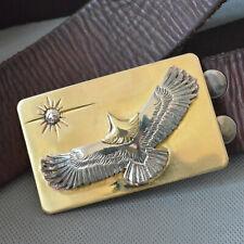 Handmade polished Pure Copper Flying eagle Mens Belt Buckle For Width 38mm Belt