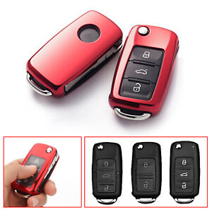 Red Remote Smart Key Soft TPU Cover Fob shell For Volkswagen Jetta Golf Beetle