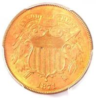 1871 Two Cent Piece 2C - PCGS Uncirculated Detail (MS UNC) - Rare Certified Coin