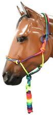 "3/8"" RAINBOW Colored Western Nylon Rope Cowboy Halter w/ 8' Lead! NEW HORSE TACK"