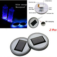 2x Car Solar Cup Holder Bottom Pad Mat Blue LED Light Atmosphere Trim Universal