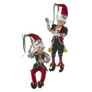 "Raz Imports Christmas Eve Elf Posable 16"" Elves Christmas Dolls Red Green"
