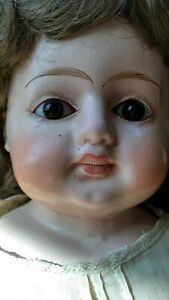 "Lovely Antique Wax Over Paper Mache Doll, Teeth, Glass Eyes 29"" Antique Clothing"