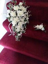 """Silk cascade bouquet ivory 23""""x 16"""""""