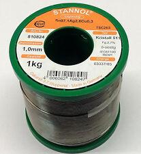 1 kg Stannol Kristall 511 Lötzinn 1,0mm 5-seelig Sn97,1Ag2,6Cu0,3 bleifrei