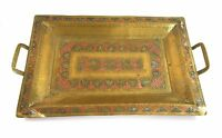 Vintage Brass Tray Copper & White Metal Inlay Middle Eastern 56.5 x 35 cm