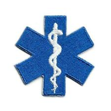 """STAR OF LIFE IRON ON PATCH 1.75"""" Paramedic Medical EMT Blue Embroidered Applique"""