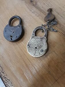 Antique Vintage Unusual CORBIN  Cast Iron w/o key & Brass Lock Padlock w/Key