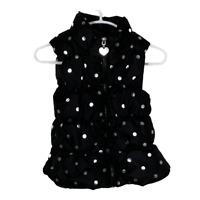 One Step Up Girls Puffer Vest Coat Jacket Outerwear Black Silver Dot Kids Size 4