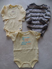 baby boys 3 PIECE LOT 1 pc OUTFITS CARTERS Rompers MOM DAD snap shirt 6-9 MONTHS