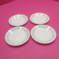 """4 CORELLE COUNTRY COTTAGE WHITE BLUE HEARTS SALAD BREAD PLATES  6 3/4"""" DIAMETER"""