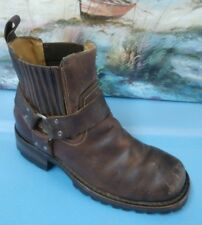 GBX Mens Brown Leather Motorcycle Biker Harness Boots Distressed Sz 7.5D