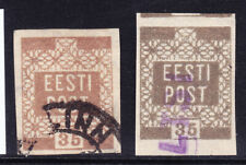 More details for estonia 1918 sg3/3a 35p brown and grey imperf rfine used 4 margins cv£55 the pai