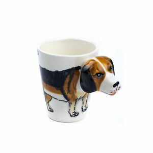 Ceramic 3D Novelty Animal Handle Coffee Tea Mug - Dog Beagle