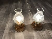 2 Hurricane Amber Glass Hob Nail Bedroom Reading Table Lamp Vintage Glass GWTW