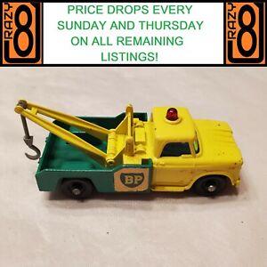 MBRW5 Matchbox Lesney 1965 13 D Dodge BP Wreck Truck Yellow/Green 'Grey Hook' EX