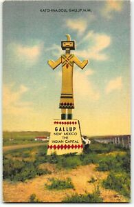 Gallup, New Mexico KATCHINA DOLL Pueblo Indians - 1940s Linen Postcard Kachina
