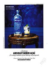 Absolut Berri-Acai print ad 2010 acai, blueberry & pomegranate