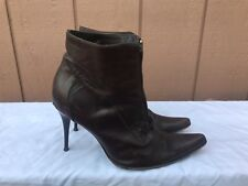 RARE BACCARA BROWN US 8 - 8.5 LEATHER BOOTS STILETTO POINTY TOE FRONT ZIP