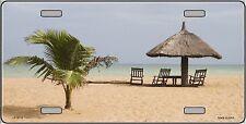 Sun Tropical Beach Palm Tree Teki Hut Metal License Plate Tag Sign Sea Shore
