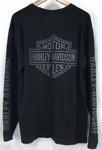 Harley Davidson Men's Black Raised Logo Spell Out Long Sleeve Shirt Size Medium