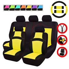 Universal Car Seat Covers Yellow Airbag Rear Split Seat Breathable Mesh 14pcs