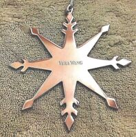 Snowflake Ornament by Vera Wang  Silver 8 Point 3 inch width silver cord (NWOT)