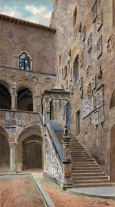 SANTI & GIULIA CECCHI Watercolour Painting BARGELLO COURTYARD IN FLORENCE ITALY