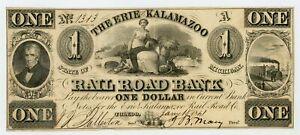1800's $1 The Erie and Kalamazoo Rail Road Bank - Toledo, OHIO / MICHIGAN Note