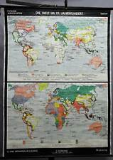 vintage geographical wall chart poster, map, the world in the 19. century