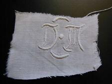 ancien monogramme DM  pour creation recup patchwork couture T10A2