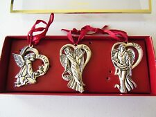 Gorham Silverplated Christmas Ornaments Set of 3 Angels HOPE, LOVE & PEACE