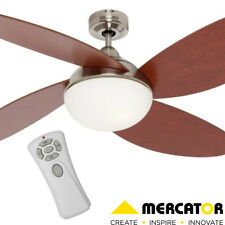 Rosebery Brushed Chrome Ceiling Fan with Remote & Light Mercator Lighting - F...