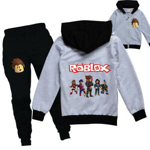 Boys/Girls ROBLOX Zip Hooded Top Outfit Sports Set Tops+Pants Tracksuit 5-13 Yr