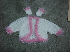 "Light Pink & white cardigan for Baby Annabell or similiar size doll 17""-19"""
