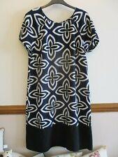 LADIES M&S COLLECTION BLACK NAVY & WHITE PRINT SMART SHIFT DRESS SIZE 14