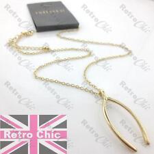 "QUIRKY retro WISHBONE pendant NECKLACE 18""chain WISH BONE vintage gold fashion"