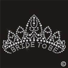 Wedding Bride To Be Tiara Rhinestone Diamante Transfer Iron-On Hotfix Motif Gem